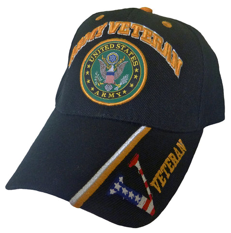 U.S. Army Hat Black Logo Veteran V Baseball Cap Military Headwear