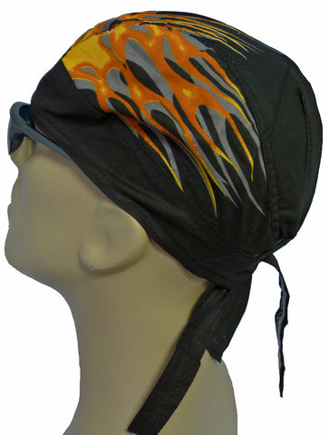 Doo Rag with Side Flames Black Head Wrap Durag Skull Cap Cotton Sporty Motorcycle Hat