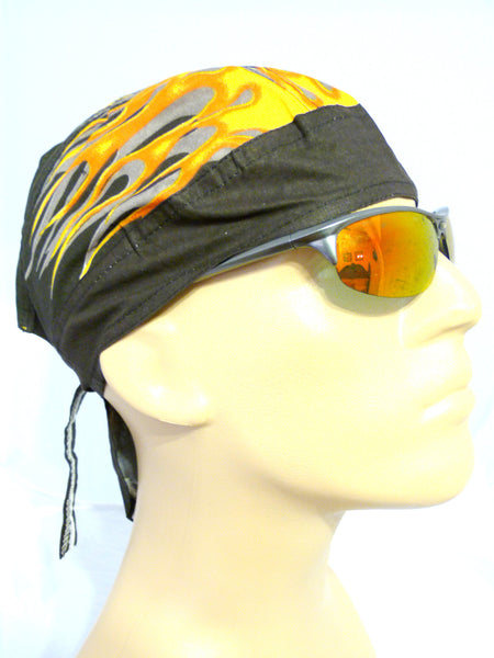 Doo Rag With Side Flames Black Head Wrap Durag Skull Cap
