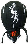 Asian Dragon Doo Rag Chinese Letters Black Headwrap Trucker Durag Skull Cap Cotton Sporty Motorcycle Hat