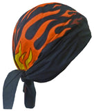 Black Doo Rag with Flames and SWEAT BAND Head Wrap Durag Skull Cap Spandex Sporty Motorcycle Hat