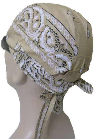 Tan Beige Paisley Headwrap Doo Rag Durag Skull Cap Cotton Sporty Motorcycle Hat