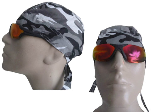 Camouflage Gray Doo Rag Urban City Head Wrap Camo Durag Skull Cap Cotton Sporty Motorcycle Hat