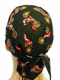 Black Vintage Red Motorcycle Headwrap Doo Rag Trucker Durag Skull Cap Cotton Sporty Biker Hat