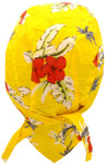 Fun Yellow Hawaiian Tropical Flowers Headwrap Doo Rag Durag Skull Cap Cotton Sporty Motorcycle Hat