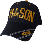 CLEARANCE Mason Hat Black Baseball Cap with Masonic Logo Freemasons Shriners Prince Hall Lodge Headwear