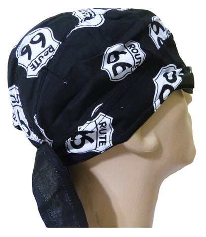 Black Route 66 Headwrap Motorcycle Doo Rag Trucker Durag Skull Cap Cotton Chemo Hat