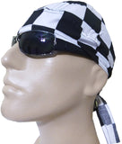 White and Black Checkered Flag Skull Cap Checkers Racing Doo Rag Motorcycle Hat with SWEATBAND