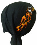 Bald Eagle Black Headwrap Doo Rag Durag Skull Cap with Flames Cotton Sporty Motorcycle Hat