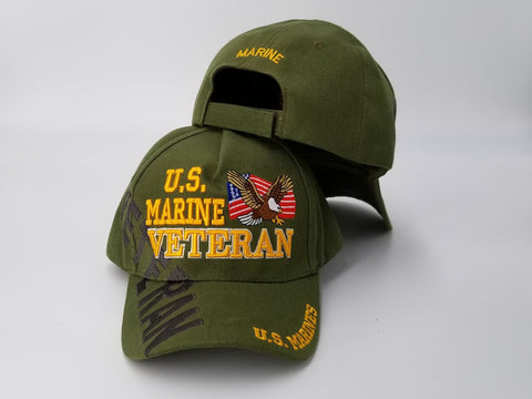 U.S. Marine Corps Veteran Hat, United States Marines OD Green Baseball Cap, Eagle and American Flag