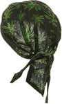 Cannabis Weed Leaf Doo Rag Hat Bandana Head Wrap Black and Green for Men or Women