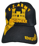 Army Engineer Baseball Cap, Black U.S. Military Hat, Embroidered, Officially Licensed