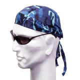 Blue and Black Woodland Camouflage Doo Rag Camo Motorcycle Skull Cap Bandana Dorag Headwrap