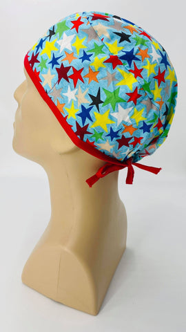 Stars Nursing Scrub Hat Surgeons Cap, Cotton, Light Blue and Red with Assorted Colors