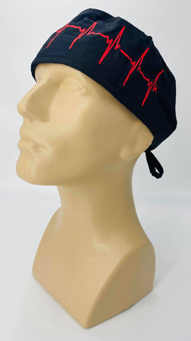Scrub Hat Nursing Cap Gift for Doctor, EKG Cardiologist Surgeon Nurse OR ER Xray Tech Veterinarian, Black and Red