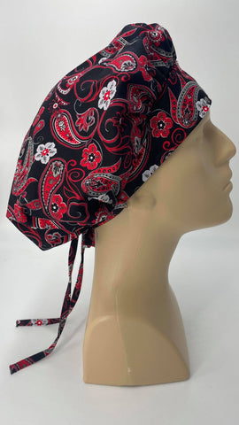 Flowers and Paisley Nursing Scrub Hat Scrubs Cap Bouffant for Long Hair, Cotton, Black White Red Gray