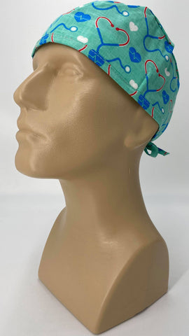 EKG Heartbeat with Stethoscope Nursing Scrub Hat Surgeons Cap, Cotton, Green Blue White Red