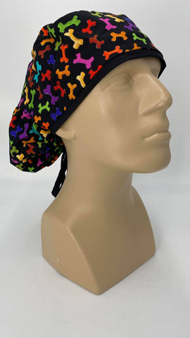 Dog Bones Nursing Scrub Hat Scrubs Cap Bouffant for Long Hair, Cotton, Black with Rainbow Colors
