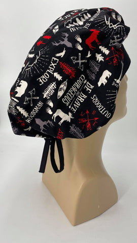Forest Wilderness Nursing Scrub Hat Scrubs Cap Bouffant for Long Hair, Cotton, Black with Moose Bears Trees Forest Ax