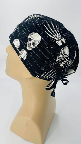 Scrub Hat Nursing Cap Gift for Doctor, Bones Skull Spine Surgeon Nurse OR ER Xray Tech Veterinarian