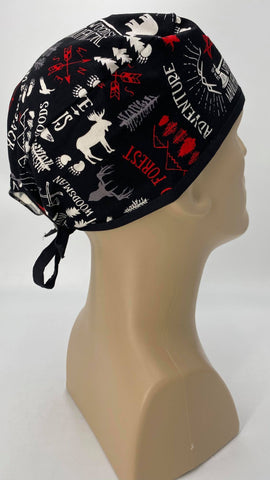 Forest Wilderness Nursing Scrub Hat Scrubs Cap, Cotton, Black with Moose Bears Trees Feathers Ax