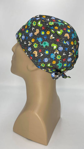 Kiddie Animals Nursing Scrub Hat Surgeons Cap, Cotton, Dark Gray with Assorted Children Images
