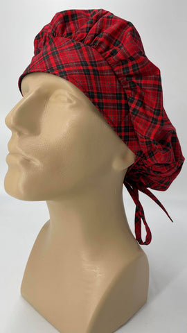 Red Checkered Nursing Scrub Hat Scrubs Cap Bouffant for Long Hair, Cotton