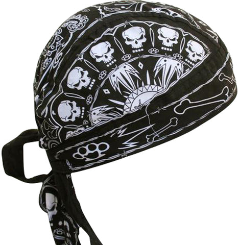 Skulls and Bones Doo Rag Cap with Sweatband Biker Hat Bandana Head Wrap Black and White for Men or Women