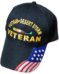 Vietnam and Desert Storm Veteran Baseball Cap Black Military Hat with American Flag Design