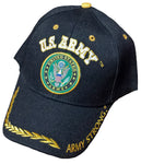 U.S. Army Hat Black Army Strong Logo Baseball Cap with Wreath Military Headwear