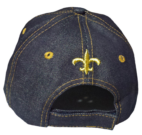 best service 91021 3020c ... best price new orleans saints baseball cap fleur de lis blue denim hat  nfl football team