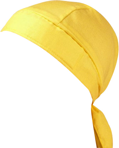 Yellow Doo Rag Motorcycle Skull Cap Dorag Chemo Bandana MADE IN THE USA