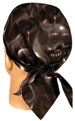 Ghoul Ghost Skulls Black and Gray Bandana Skull Cap, Made in USA, with Sweatband, Dorag Motorcycle Biker Hat
