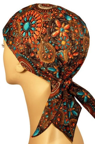 Turquoise Coral and Beads Jewelry Print Design Doo Rag Brown Skull Cap Chemo Dorag w/ Sweatband MADE IN AMERICA