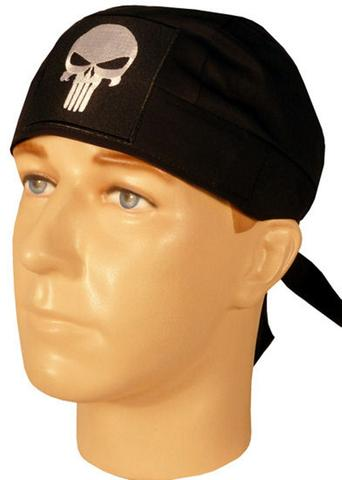 Punisher Skeleton Head Doo Rag Hat MADE IN AMERICA Bandana Head Wrap Black and White for Men or Women