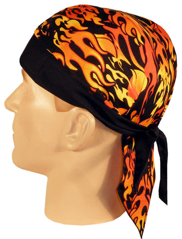 Flaming Fire Doo Rag Hat MADE IN AMERICA Bandana Head Wrap Black, Red and Orange for Men or Women