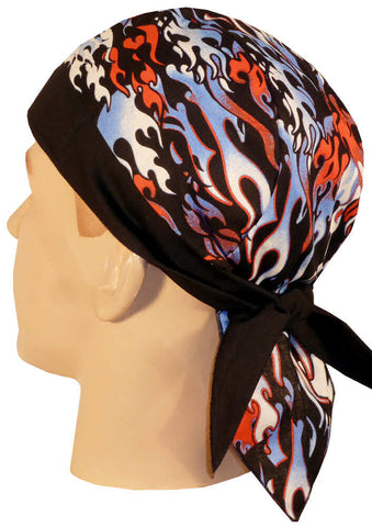 Patriotic Flaming Fire Doo Rag Hat MADE IN AMERICA Bandana Head Wrap Black, Red, White Blue Men or Women