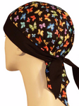 Butterfly Doo Rag Skull Cap Made in AMERICA Womens with SWEATBAND