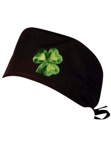 Green Clover Black Shamrock Patch Surgical Scrub Cap w/ Sweatband MADE IN THE USA Doctors Surgeon Hat for Men Women