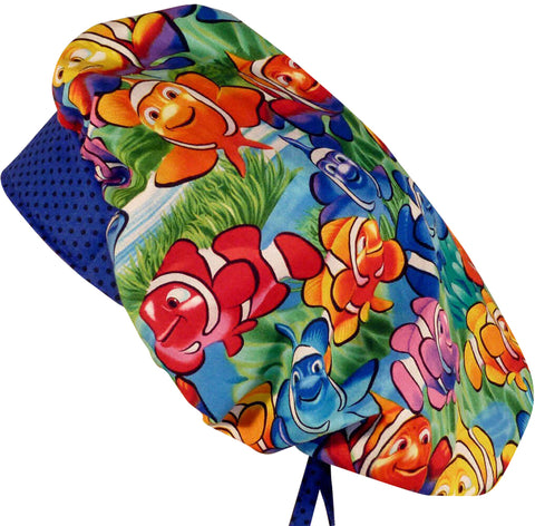 Nemo Clown Fish Surgical Bouffant for Long Hair Scrub Hat with SWEATBAND MADE IN THE USA Doctors Surgeon Hat