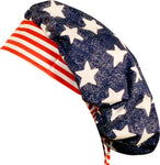 American Flag Stars and Stripes Surgical Bouffant for Long Hair Scrub Hat with SWEATBAND MADE IN THE USA Doctors Surgeon Hat