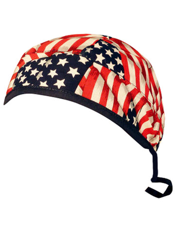 American Flag Surgical Scrub Cap w/ Sweatband MADE IN THE USA Doctors Surgeon Hat for Men Women