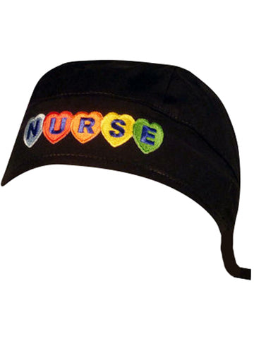 Black, NURSE Surgical Scrub Cap w/ Sweatband MADE IN THE USA Doctors Surgeon Hat for Men Women