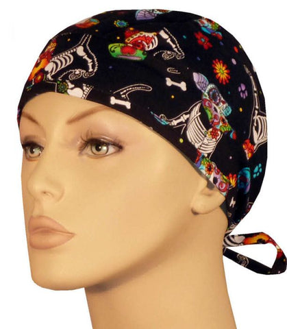 Surgical Scrub Cap X-Ray of Dog Bones with SWEATBAND MADE IN THE USA Doctors Surgeon Hat