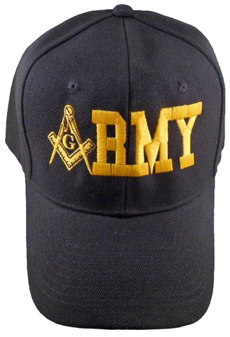U.S. ARMY Black Masonic Baseball Cap Mason Logo Hat for Freemasons Shriners Prince Hall Masons Headwear