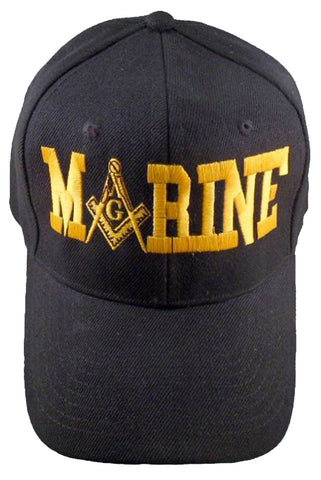 U.S. MARINES Black Masonic Baseball Cap Marine Mason Logo Hat for Freemasons Shriners Prince Hall Masons Headwear