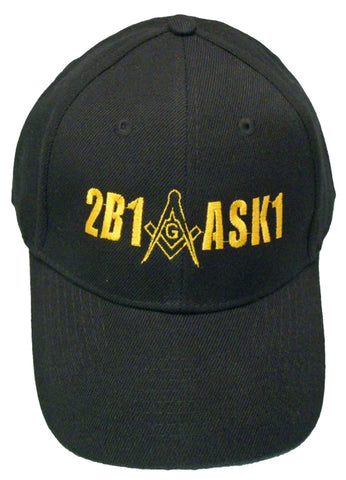 Mason Hat 2B1ASK1 Black and Gold Masonic Logo Baseball Cap Freemasons Shriners Prince Hall Lodge Headwear
