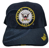 US NAVY LOGO Cap Blue Hat United States Military Adjustable One Size Fit Embroidered