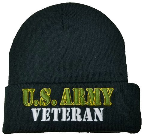 US Army Veteran Winter Beanie Ski Hat Knit Cuffed Military Skull Cap