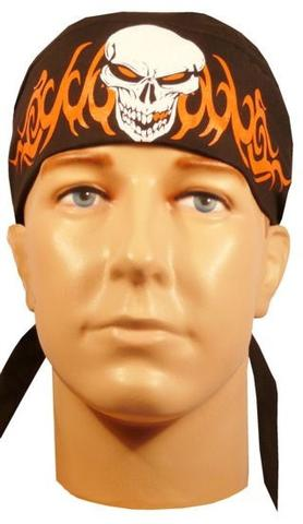 Skull with Tribal Flames Black, White and Orange Bandana Skull Cap, Made in USA, with Sweatband, Dorag Motorcycle Biker Hat